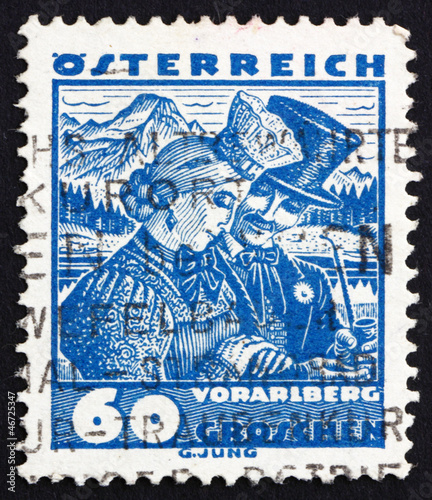 Postage stamp Austria 1929 Bridal Couple from Vorarlberg