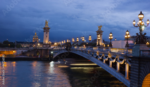 Alexander the Third bridge and Seine with golden Invalides dome