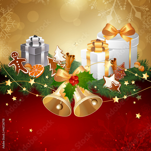 Vector Illustration of a Christmas Background with Ribbon