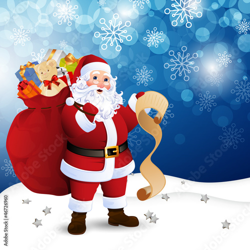 Vector Illustration of Santa Claus in front of the City