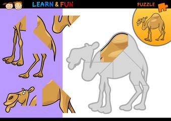 Cartoon dromedary camel puzzle game