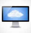Computer display with cloud icon