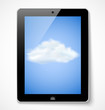 Tablet computer with cloud icon