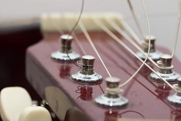 strings on a guitar. macro