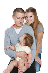 young happy family with child, studio portrait, isolated over wh