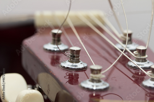 strings on a guitar. macro