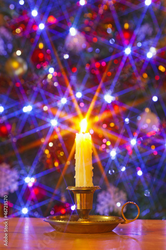 Christmas candle and tree