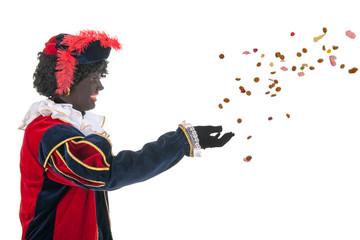 Dutch black pete throwing Sinterklaas candy
