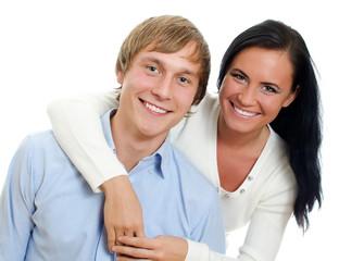 Happy loving couple. Isolated on white.