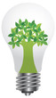 Lightbulb with Green Tree Illustration