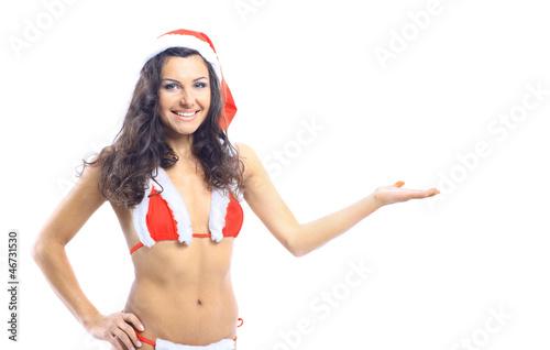 Beautiful smiling christmas santa woman