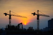 Crane construction at sunrise