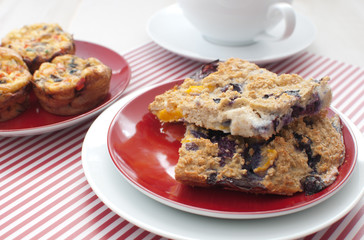 Oat squares and egg muffins for breakfast