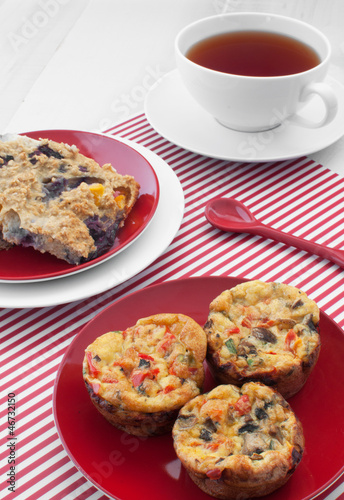 Egg muffins and oat squares breakfast