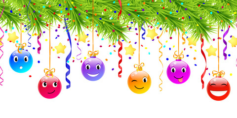 hanging funny christmas balls. seamless pattern