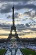 La Tour Eiffel - Winter sunrise in Paris at Eiffel Tower, view f