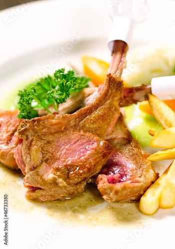 Lamb ribs steak a taste of european food