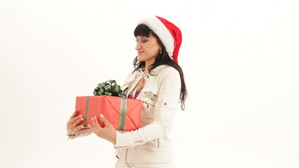 Woman receiving lots of gifts