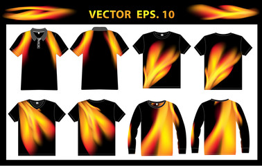 Vector fire shirt polo, vest, v-neck and long sleeves