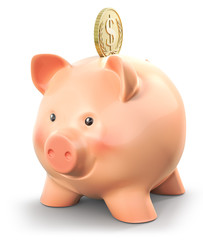 Piggy bank with gold coin