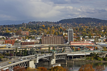 Portland, Oregon Morrison Bridge and east side city