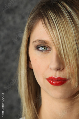 pretty blonde with red lipstick