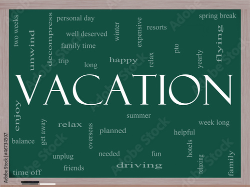 Vacation Word Cloud Concept on a Blackboard
