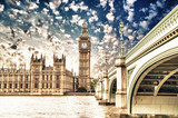 Fototapety Landscape of Big Ben and Palace of Westminster with Bridge and T