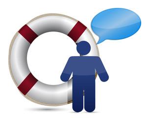 sos lifesaver message icon