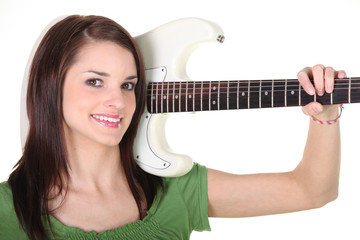 a girl with a guitar