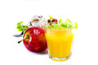 Orange juice and salad