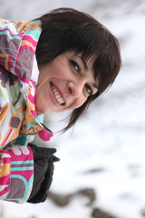 Smiling woman in the snow