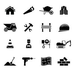 Icons Werkzeuge Bereich Bauwesen