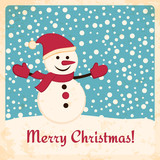 Retro Christmas card with happy snowman on snow background