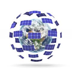 terra con pannelli solari