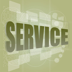 words service on digital screen, business concept