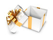 3d Open White Gift box with gold bow