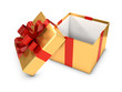 3d Open Gold Gift box with red bow