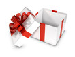 3d Open White Gift box with red bow