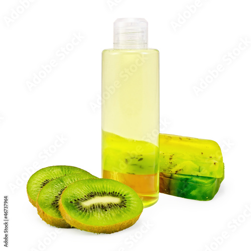 Shower gel and soap and kiwi