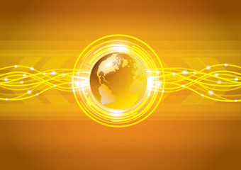Abstract gold global earth technology background, vector