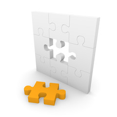 Jigsaw puzzle wall with gap