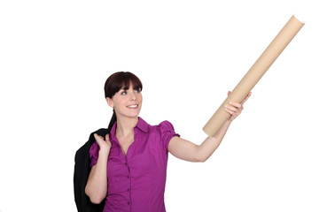 Woman with a cardboard tube
