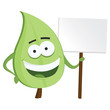 Green leaf eco character posing with a sign