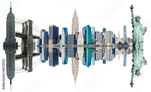 New York City Landmarks, USA. Isolated on white.