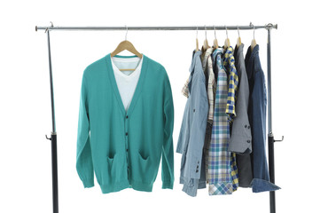 Choice of man clothes of different colors on hangers,