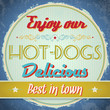 Vintage Hot Dogs Sign - Vector EPS10