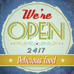 Vintage metal sign - We Are Open, Come In - Vector EPS10