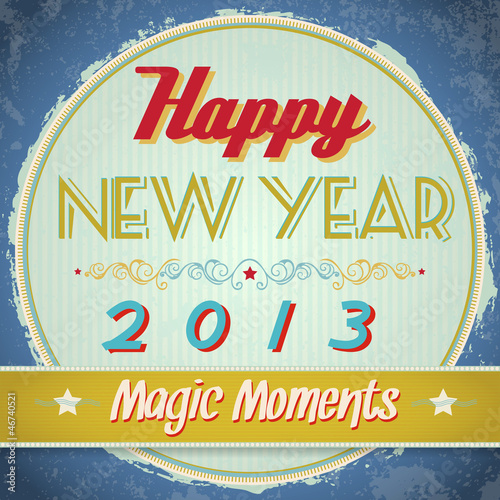 Vintage happy new year sign. Vector EPS10.