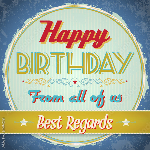 Vintage Birthday Card - Vector EPS10